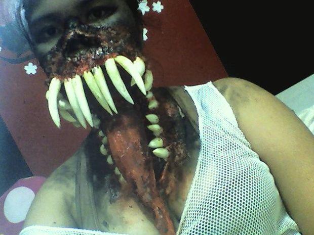Fake sharp teeth