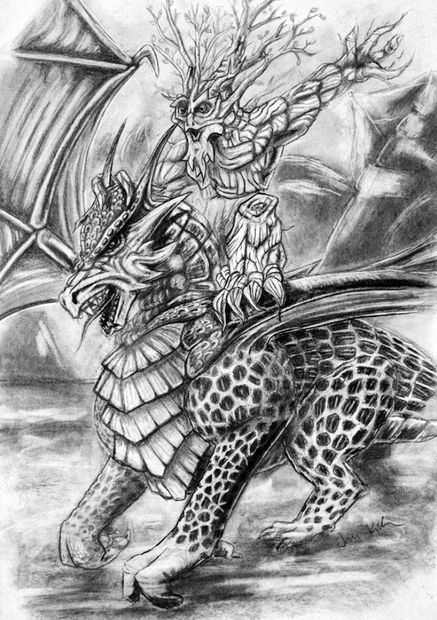 Ent Y Dragón Lápiz Dibujo Askixcom