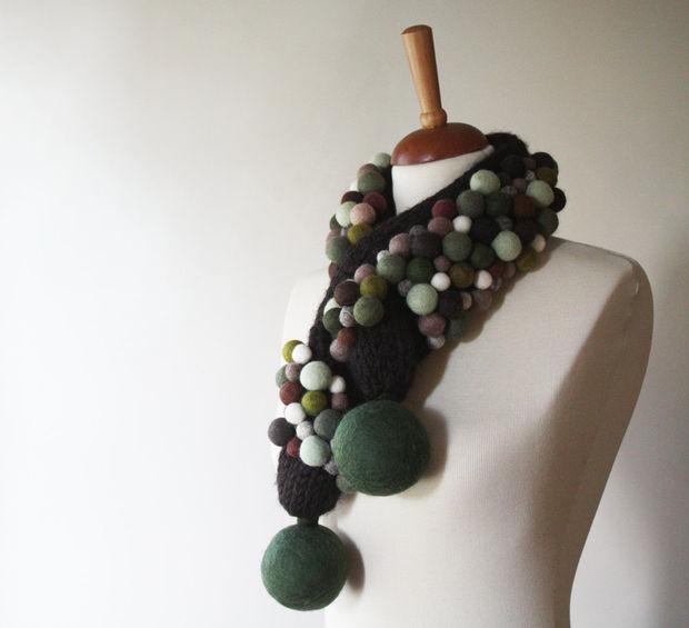 Bufanda, bufanda hecha punto de Freeform, marrón, caqui, almendra ...