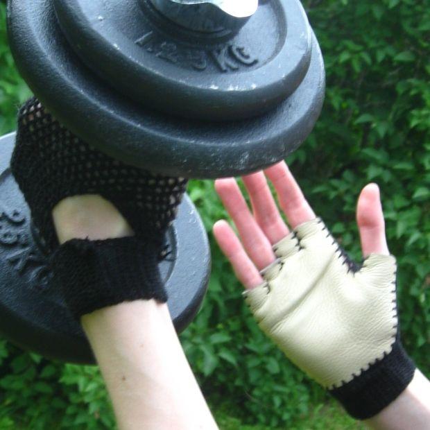 Crochet y gimnasio guantes de cuero - askix.com
