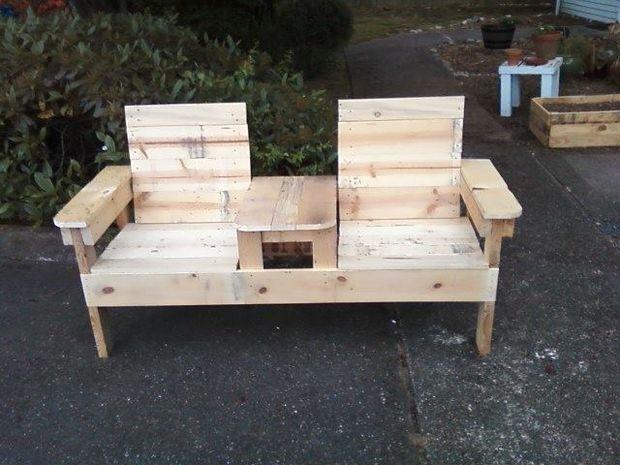 Reciclado madera de palet doble silla banco paso 3 - Tarimas de madera usadas ...