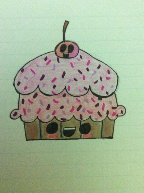 Cómo Dibujar Un Pastelito Kawaii Paso 3 Para Colorear