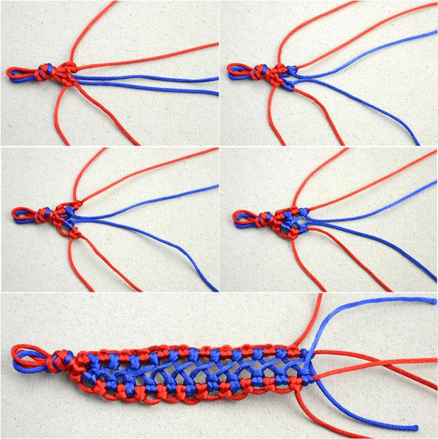 Moda hecha a mano joyería bicolor tejida cáñamo pulsera patrones ...