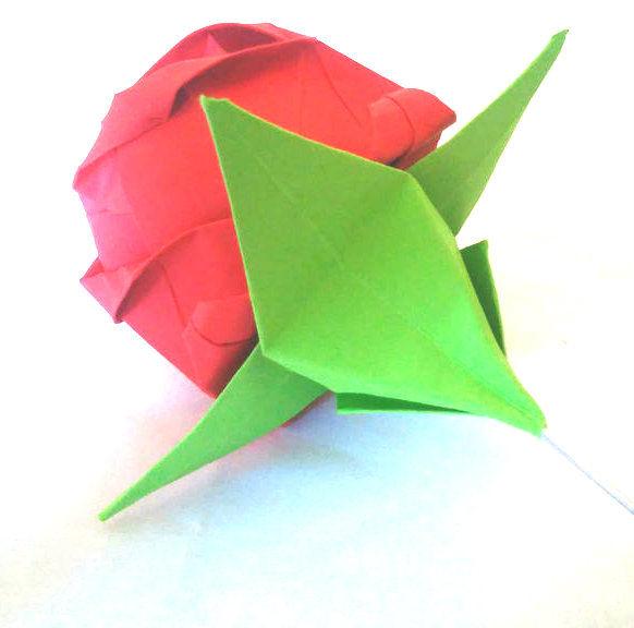 Cáliz de origami para una rosa de Origami - askix.com