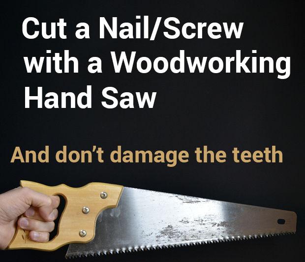 Cortar clavos o tornillos con una sierra de mano para - Sierra de mano para madera ...