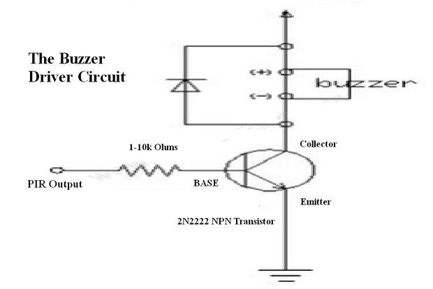 Circuito Zumbador Piezoelectrico : Circuito de seguridad sensor movimiento pir