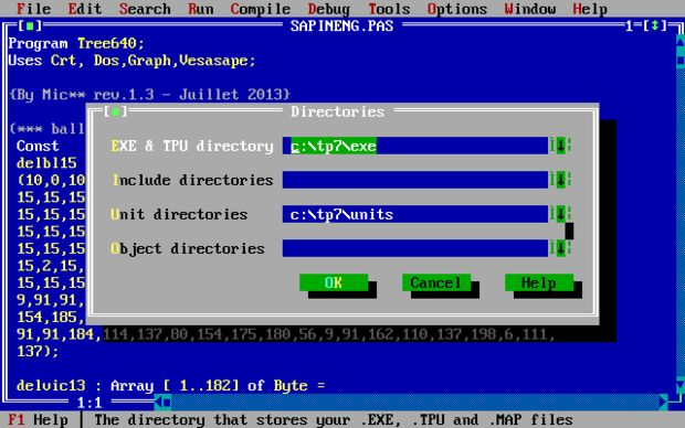DESCARGAR TURBO PASCAL 7 1 y ejecutar, en WINDOWS 7 con DOSBOX