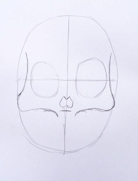 Pasos para dibujar un cráneo