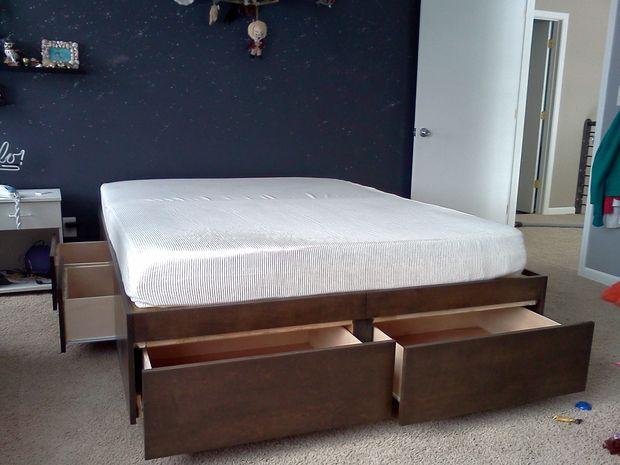 Cama de plataforma con cajones - askix.com