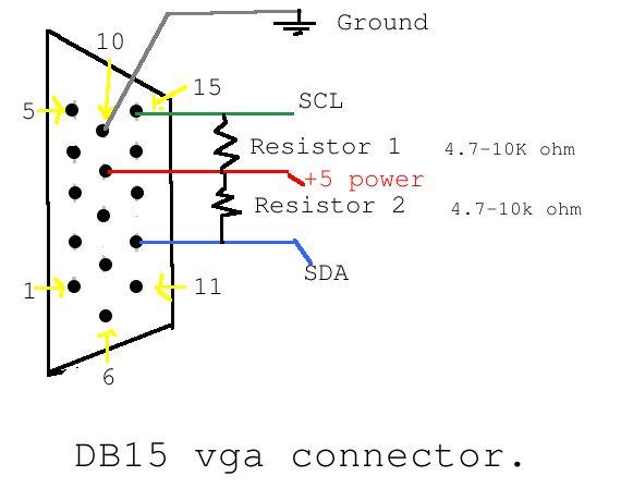 cable de salida vga     paso 3  interfaz i2c