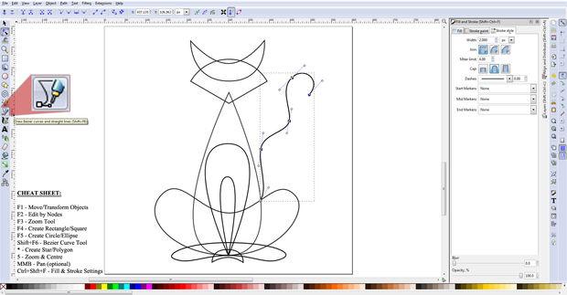 Dibujo un negro gato usando vectores / Paso 12: Crear la cola ...