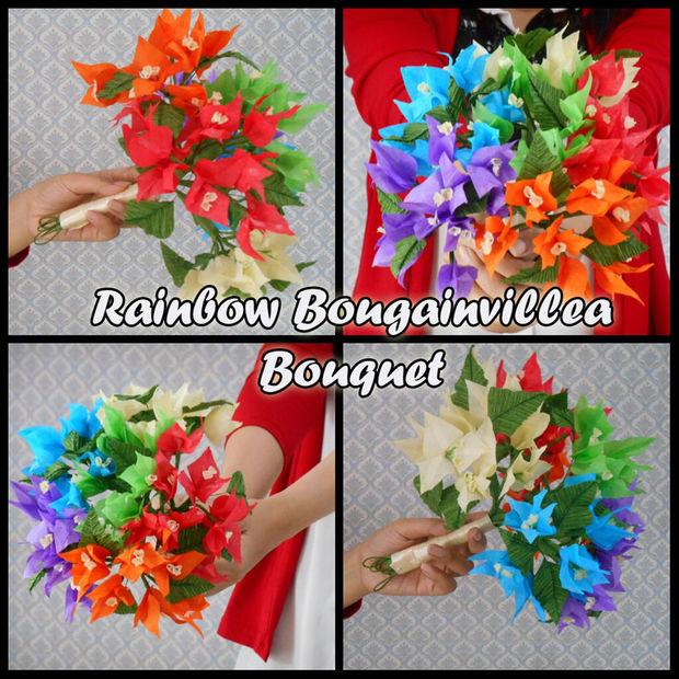 FLORES de papel de tejido: Ramo arco iris BOUGAINVILLEA - askix.com