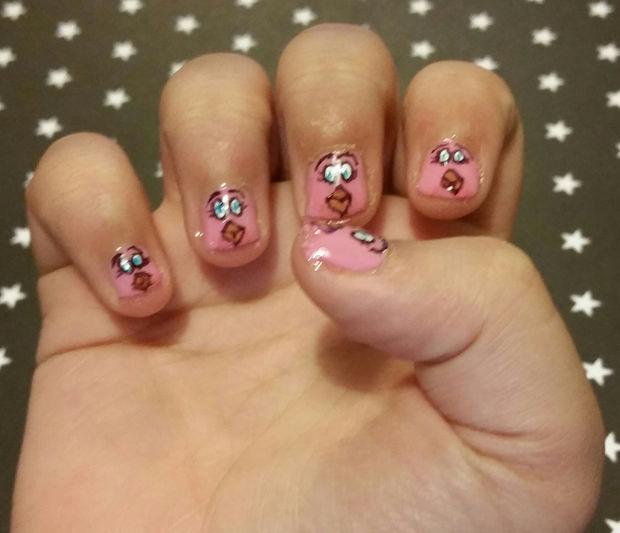 Aves enojado DIY de uñas de arte con marcadores Sharpie / Paso 10 ...