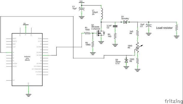 Circuito Boost : Reguladores de voltaje conmutación basada en arduino
