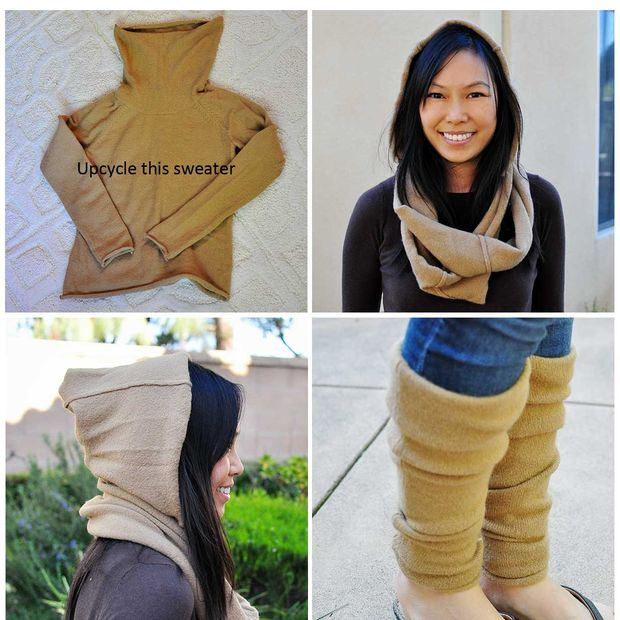 Upcycle una lana suéter en un círculo bufanda encapuchada y ...