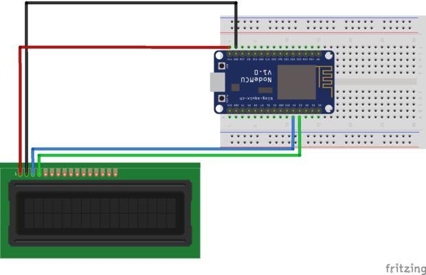 Nodemcu devkit (esp8266) pantalla de temperatura en una