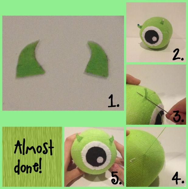 Tsum DIY Mike Wazowski Tsum / Paso 5: Añadir los cuernos pequeños ...