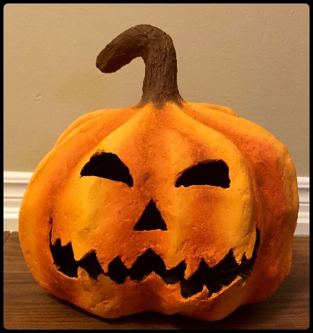 Como Hacer Una Calabaza De Halloween Espeluznante Papel Mache Paso - Calabaza-de-papel